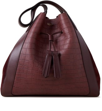 Mulberry Millie Tote Burgundy Matte Croc, Silky Calf and Suede