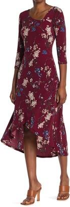 WEST KEI Floral Print High/Low Hem Dress