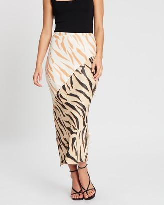 Shona Joy Olson Contrast Bias Midi Skirt
