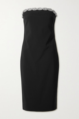 Area Strapless Crystal-embellished Woven Dress - Black