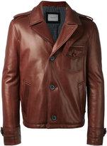 Lanvin buttoned jacket - men - Cotton/Calf Leather/Lamb Skin/Viscose - 48
