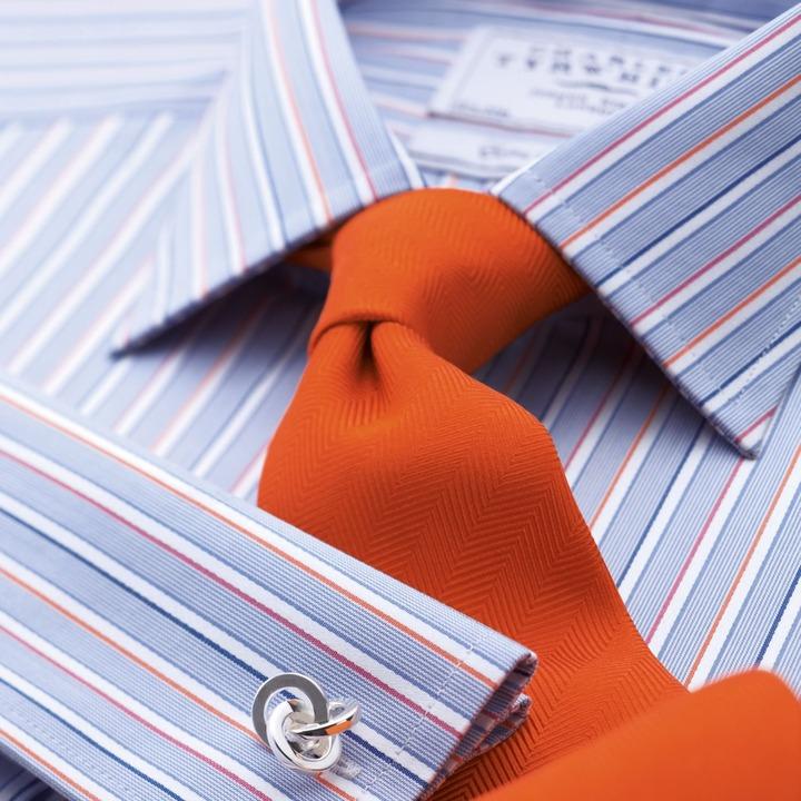 Charles Tyrwhitt Blue hairline multi border satin stripe classic fit shirt