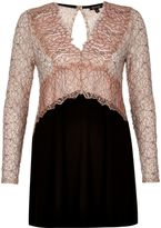 River Island Womens Pink lace V-neck tunic