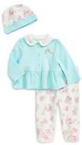 Little Me Infant Girl's Floral Bird Cardigan, Pants & Hat Set