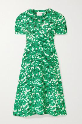 HVN Paula Printed Silk Dress - Green