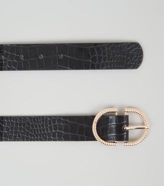 New Look Faux Croc Double Horseshoe Belt