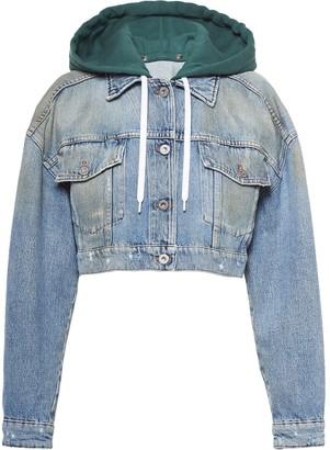 Miu Miu Cropped Embroidered Denim Jacket