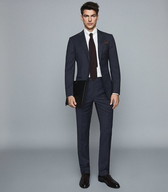 Reiss Grit - Wool Blend Slim Fit Trousers in Navy