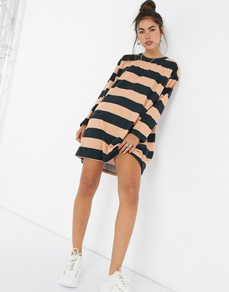 ASOS DESIGN oversized t-shirt dress with long sleeve in black and camel stripe