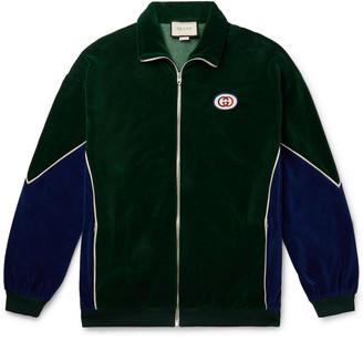 Gucci Oversized Logo-Appliqued Piped Cotton-Blend Velvet Track Jacket