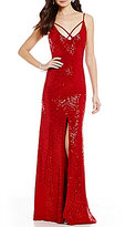 B. Darlin Strappy Sequin-Embellished Long Lace Dress