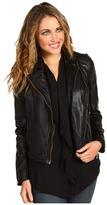 MICHAEL Michael Kors - Smooth Lamb Leather Jacket w/ Knit Side (Black) - Apparel