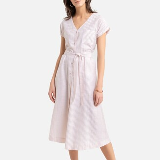 Anne Weyburn Striped Cotton Midi Dress with Short Sleeves