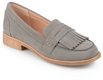 Brinley Co. Womens Fringed Faux Suede Slip-on Loafers