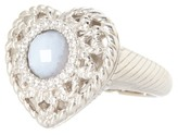 Judith Ripka Sterling Silver Faceted Agate Filigree Heart Ring - Size 8