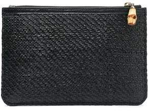 Kayu Sawyer Leather-trimmed Straw Pouch