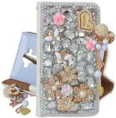 Spritech(TM) PU Leather Bling Phone Case For ZTE ZMAX Z970,Handmade Silver Crystal Heart Pendant Accessary Design Cellphone Cover With Card Slots