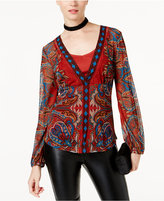 INC International Concepts Printed Mesh Layered Top, Created for Macy's