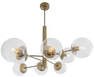 clear Rogue Decor Company Mid-Century 8-Light Chandelier, Antique Brass with Glass