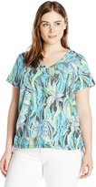Caribbean Joe Women's Plus-Size Dot Print Short Sleeve V Neck Ruched Tee Shirt