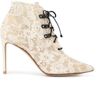 Francesco Russo Lace Textured Ankle Boots