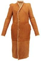 Rick Owens Slit-cuff Panelled Shearling Coat - Womens - Tan