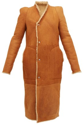 Rick Owens Slit Cuff Panelled Shearling Coat - Womens - Tan