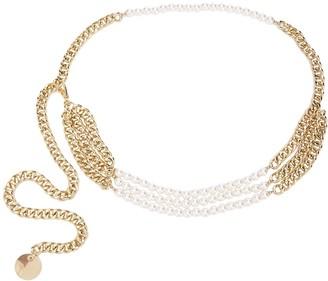 B-Low the Belt Pearl-Embellished Chain Belt