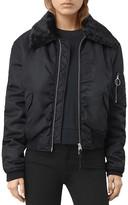 AllSaints Luca Faux Fur Collar Bomber Jacket