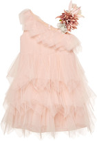 Carrera Pili Girl's One-Shoulder Tulle Dress w/ Floral Accent, Size 3-10