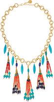 Devon Leigh Multi-Stone Tribal-Inspired Beaded Tassel Pendant Necklace