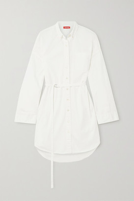 Denimist Belted Cotton Mini Shirt Dress - White