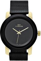 Geneva Platinum Black & Gold Mesh-Strap Watch