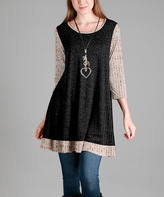 Aster Black & Beige Scoop-Neck Swing Tunic - Plus - Plus Too