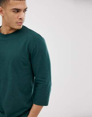 Asos Design DESIGN relaxed 3/4 sleeve t-shirt with crew neck in green
