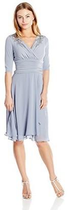 Sangria Women's Draped Chiffon 3/4 Sleeve Dress Petite