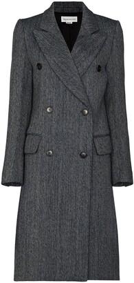 Victoria Beckham Herringbone Double-Breasted Coat
