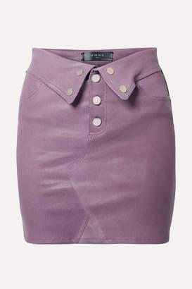 Amiri Fold-over Leather Mini Skirt - Grape