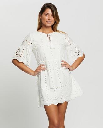 Atmos & Here Sofia Broiderie Smock Mini Dress