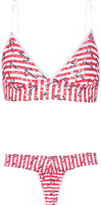 Hanky Panky Printed stretch-lace soft-cup bra and thong set