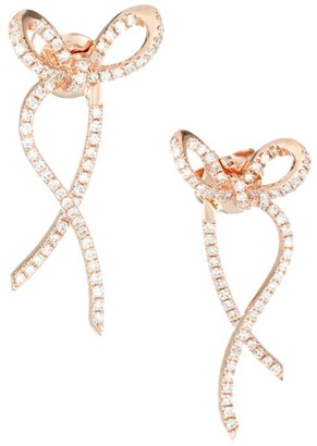 Ef Collection 14K Rose Gold & Diamond Ribbon Earrings