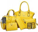 Donaword Women 6 Pcs Cassic Crocodie Hard PUeather Handbag Set
