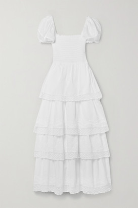 LoveShackFancy Capella Tiered Shirred Embroidered Cotton Maxi Dress - White