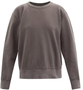 LES TIEN Crew-neck Brushed-back Cotton Sweatshirt - Dark Grey