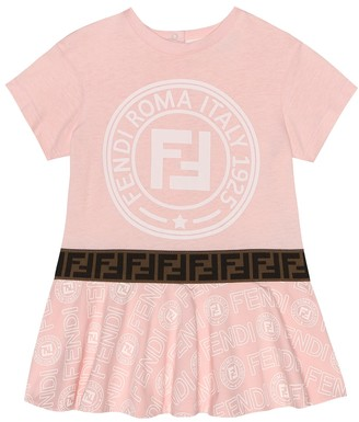 Fendi Baby logo cotton-jersey dress