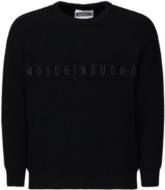 Moschino Logo Cotton Blend Intarsia Knit Sweater