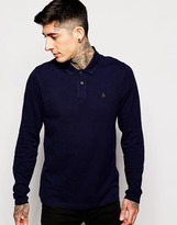 Asos Pique Long Sleeve Polo With Triangle Embroidery In Navy - Navy