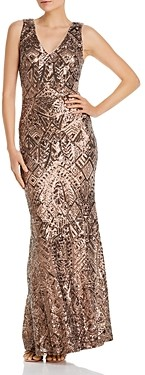 Aqua V-Neck Sequined Evening Gown - 100% Exclusive