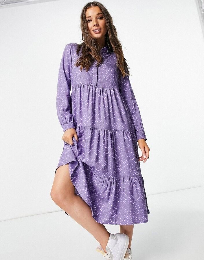 Monki Pearl tiered midi dress with collar in purple spot print
