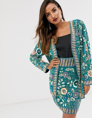 Asos Edition EDITION floral embellished oversized jacket-Green